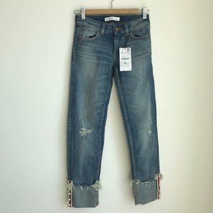 NWT Zara cropped distressed pearl jeans size 0